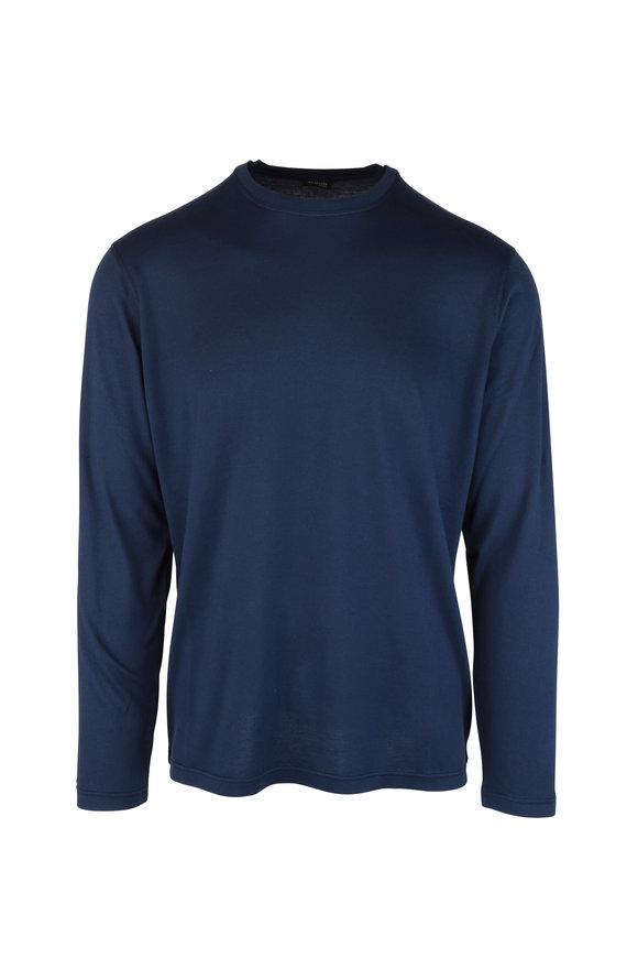 Kiton Navy Blue Cotton & Cashmere Long Sleeve T-Shirt
