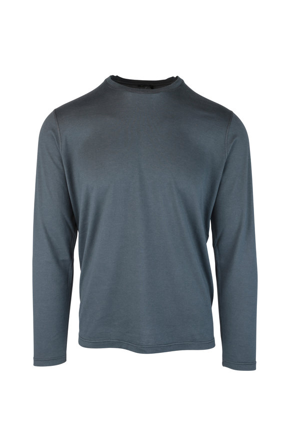 Kiton Gray Cotton & Cashmere Long Sleeve T-Shirt