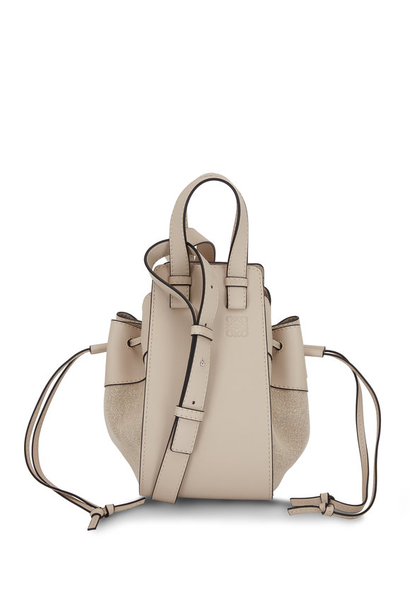 Loewe Hammock Light Oat Leather & Canvas Small Bag