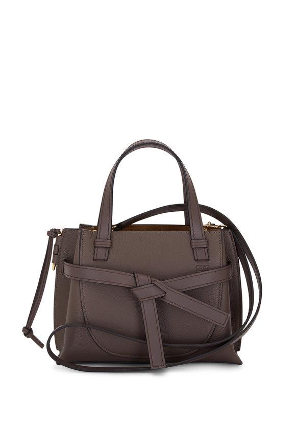 Loewe Gate Dark Taupe Leather Mini Top Handle Bag