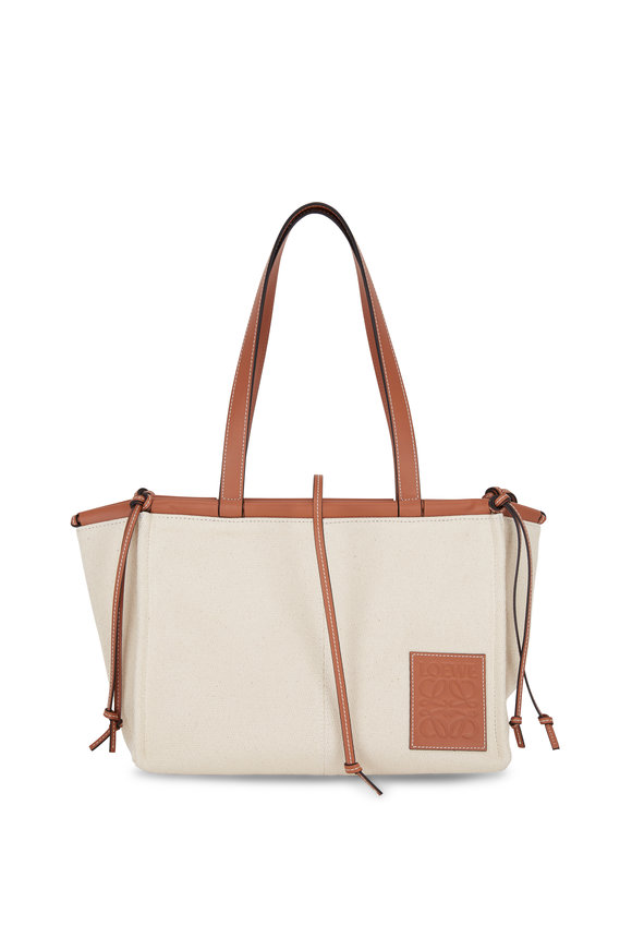 Loewe De Cushion Oat Canvas & Leather Small Tote