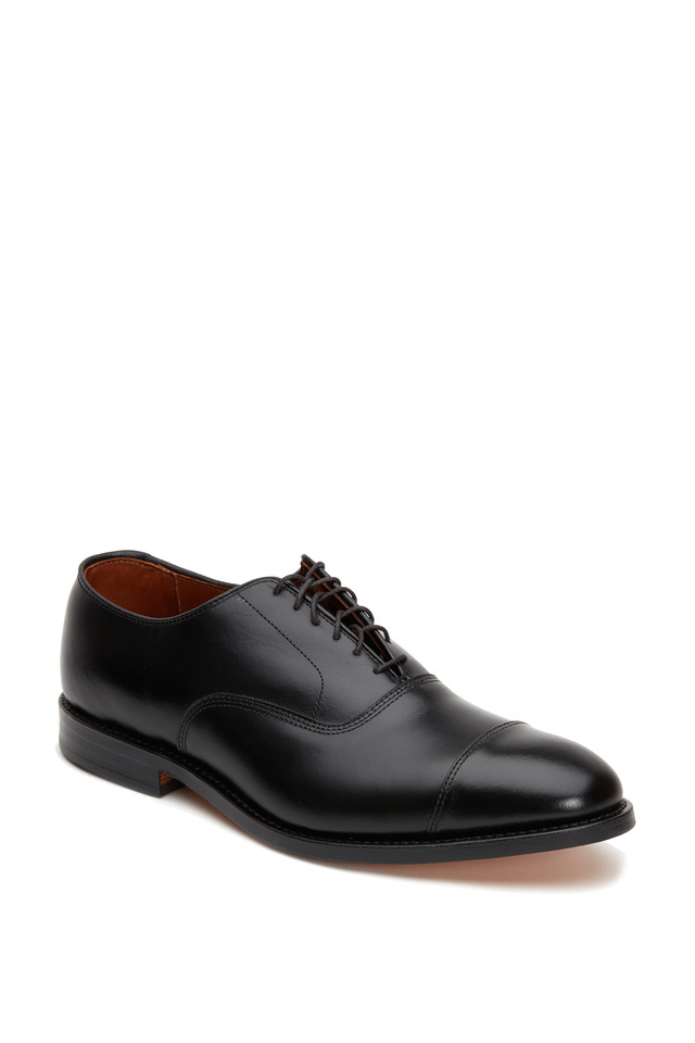 Park Avenue Black Leather Cap-Toe Oxford