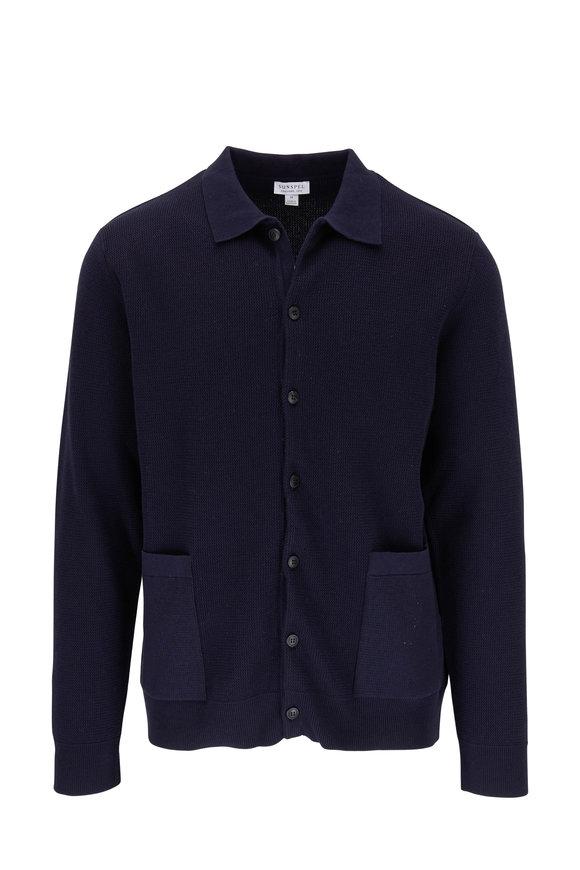 Sunspel Navy Piqué Front Button Cardigan