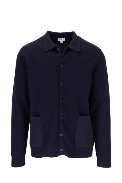 Sunspel - Navy Piqué Front Button Cardigan