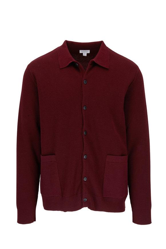 Sunspel Maroon Piqué Sweater Jacket