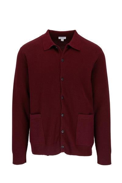 Sunspel - Maroon Piqué Sweater Jacket