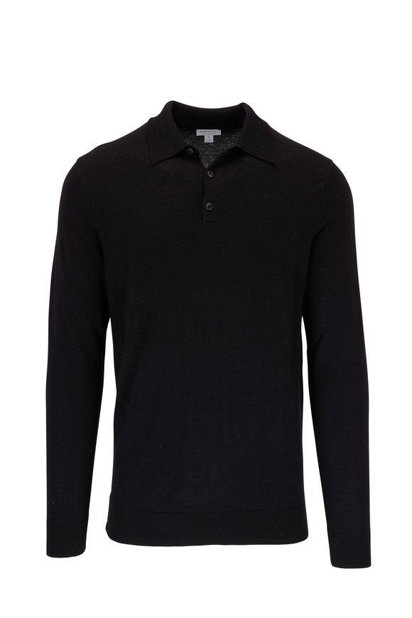 Sunspel Black Wool Long Sleeve Polo