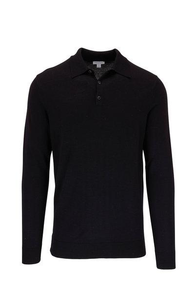 Sunspel - Black Wool Long Sleeve Polo