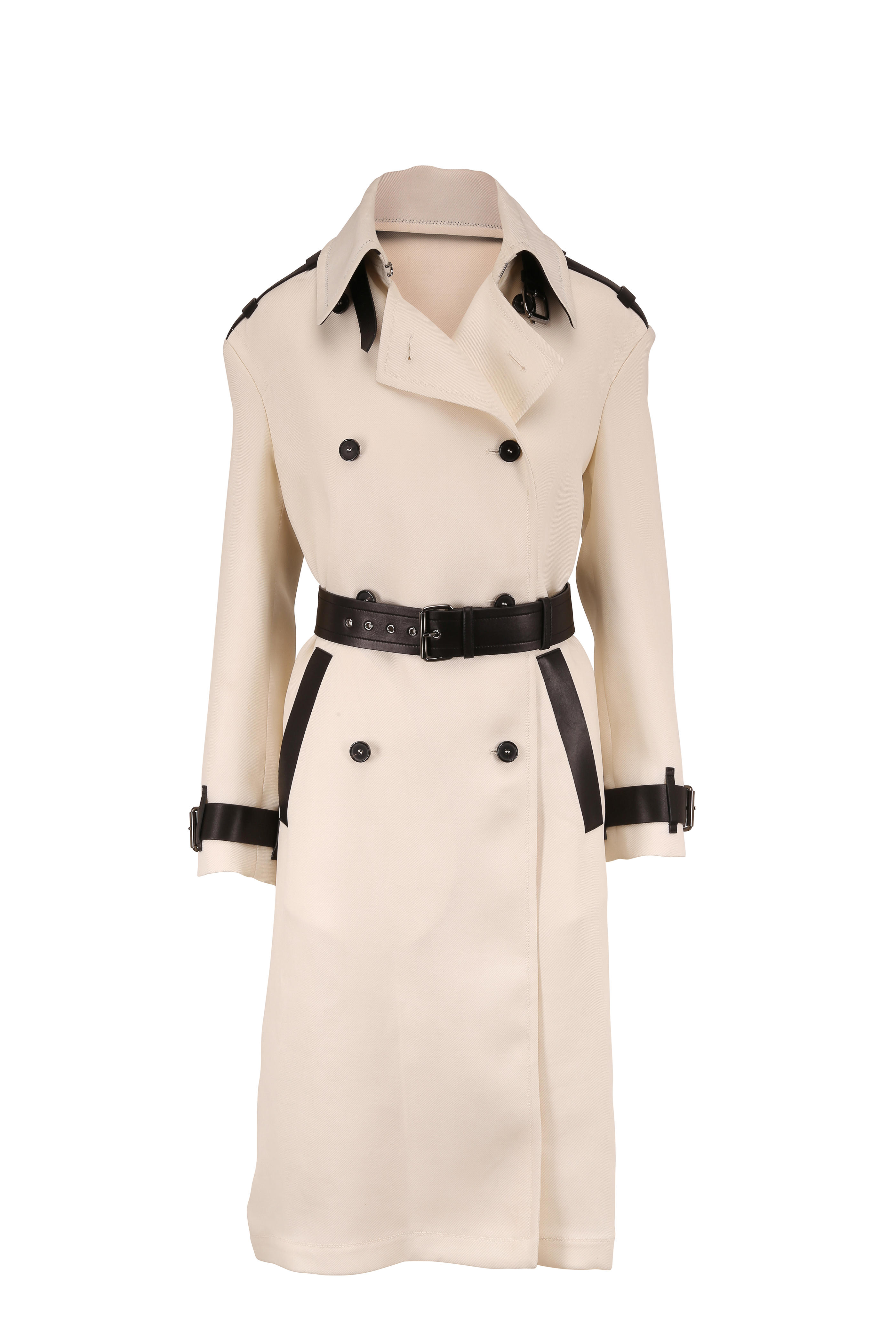 Leather Trim Trench Coat