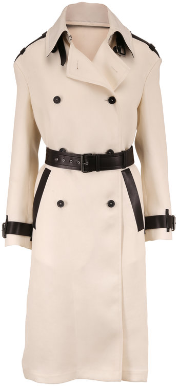 Tom Ford Chalk & Black Leather Trim Trench Coat