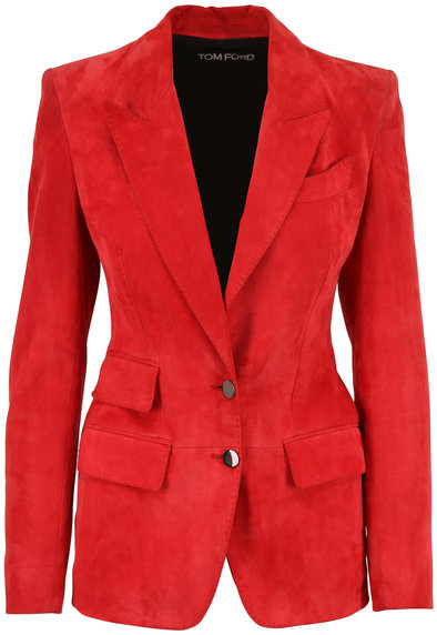 Tom Ford Orange Suede Two Button Blazer