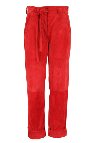 Tom Ford - Orange Suede Tie-Waist Pant