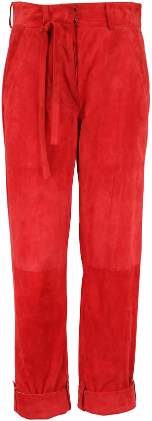 Tom Ford Orange Suede Tie-Waist Pant