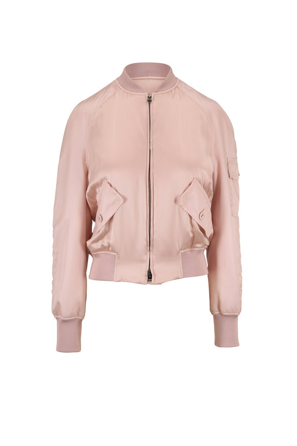 Tom Ford Blush Pink Satin Bomber Jacket