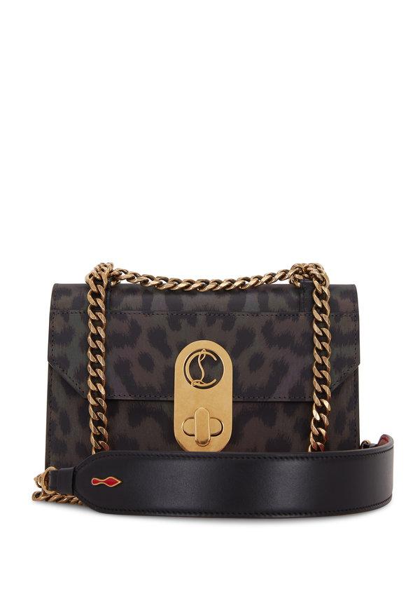 Christian Louboutin Elisa Black Leopard Nylon Reflex Mini Bag
