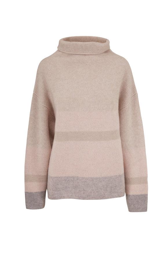 Le Kasha Kinsale Light Pink Bold Striped Turtleneck Sweater