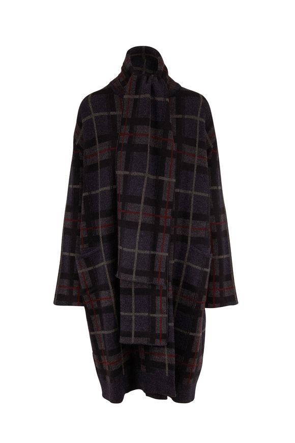 Le Kasha Antigua Midnight Plaid Cashmere Sweater Coat