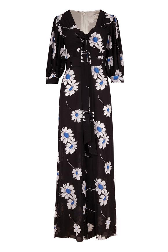 Michael Kors Collection Cadet Silk Daisy Print Elbow Sleeve Jumpsuit