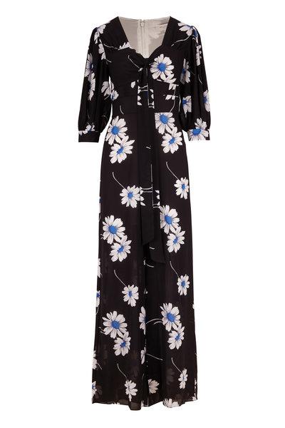 Michael Kors Collection - Cadet Silk Daisy Print Elbow Sleeve Jumpsuit