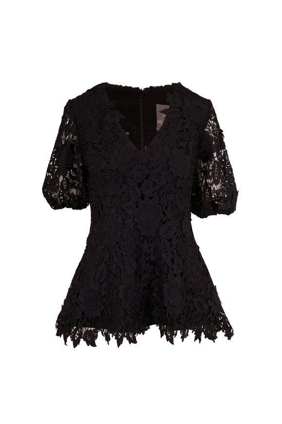 Black Lace V-Neck Full Sleeve Blouse