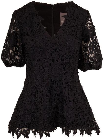 Lela Rose Black Lace V-Neck Full Sleeve Blouse