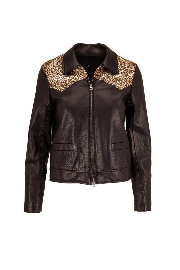 Nili Lotan Jaley Black & Gold Leopard Print Leather Jacket