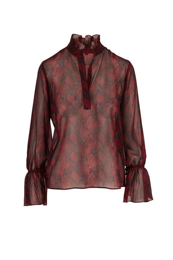 Nili Lotan Demi Ruby Snake Print Silk Top