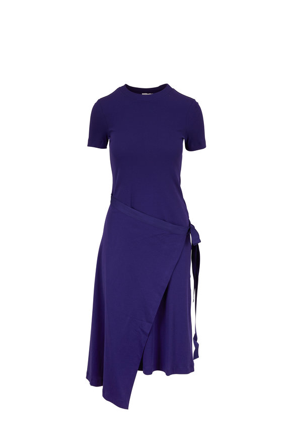 Rosetta Getty Cobalt Micro Rib Apron Wrap T-Shirt Dress