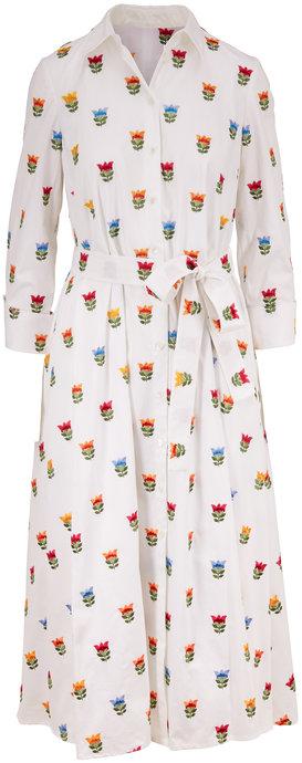 Carolina Herrera White Multi Floral Tie Waist Shirtdress