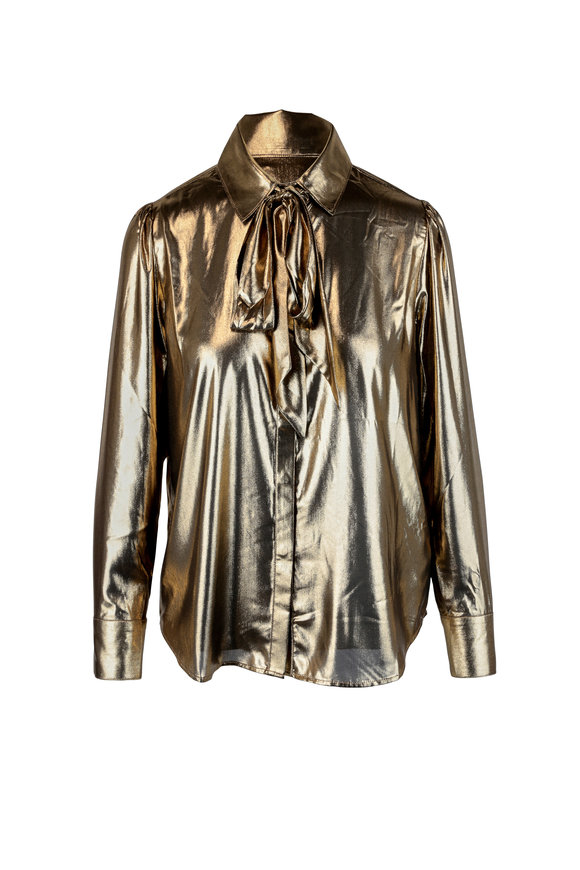 7 For All Mankind Gold Satin Neck-Tie Button Up Blouse