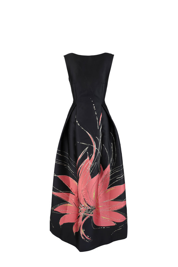 Talbot Runhof Bobbette1 Black Lily Embroidered Gown