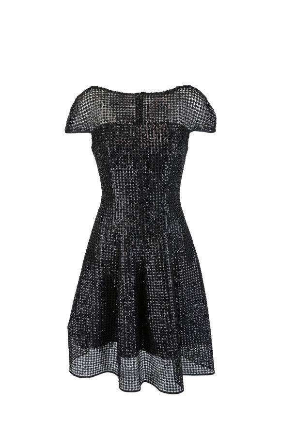 Talbot Runhof Noix5 Black Sequin Macrame Fit & Flare Dress