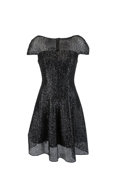 Talbot Runhof - Noix5 Black Sequin Macrame Fit & Flare Dress