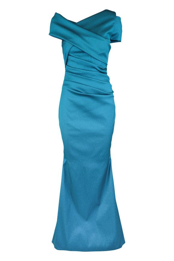 Talbot Runhof Moa10 Turquoise Wrap Cap-Sleeve Gown
