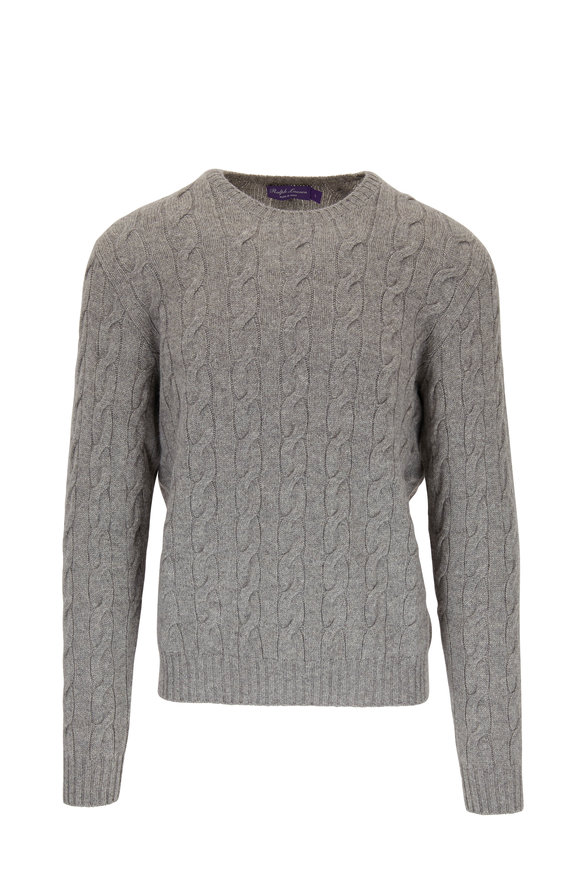 Light Gray Cashmere Cable Knit Crewneck Sweater