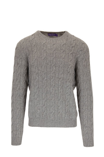 Ralph Lauren - Light Gray Cashmere Cable Knit Crewneck Sweater