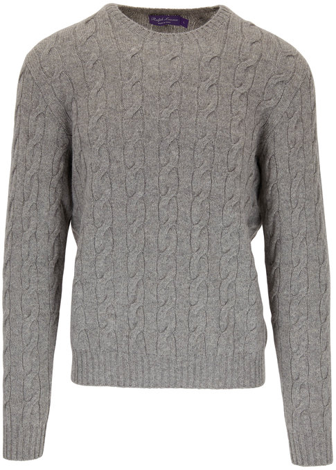 Ralph Lauren Light Gray Cashmere Cable Knit Crewneck Sweater