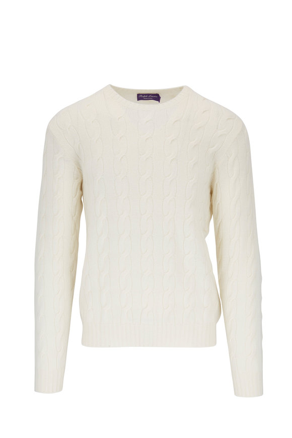 Ralph Lauren Classic Cream Cable Knit Crewneck Sweater