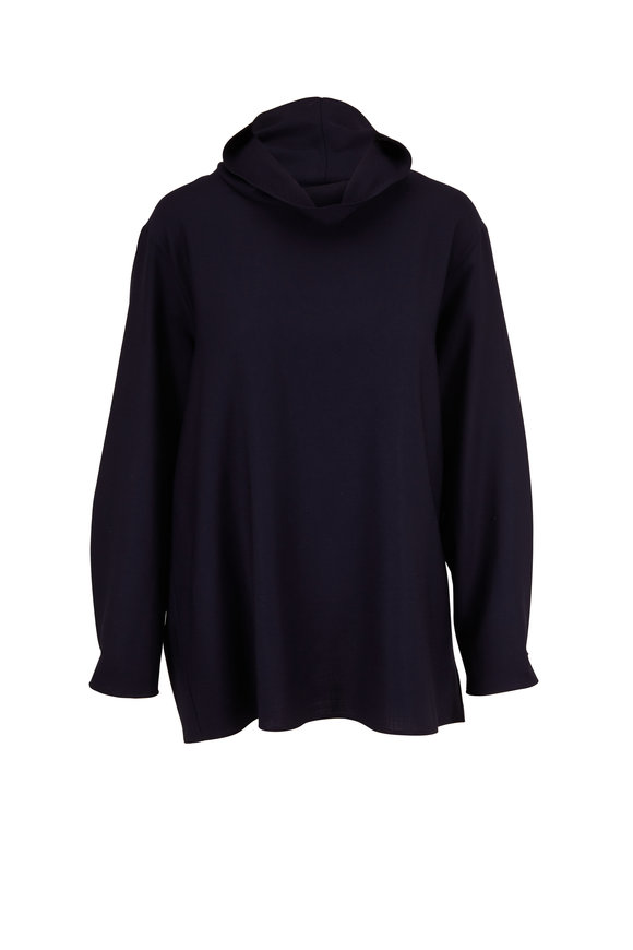 Akris Navy Wool Cowl Neck Relaxed Tunic