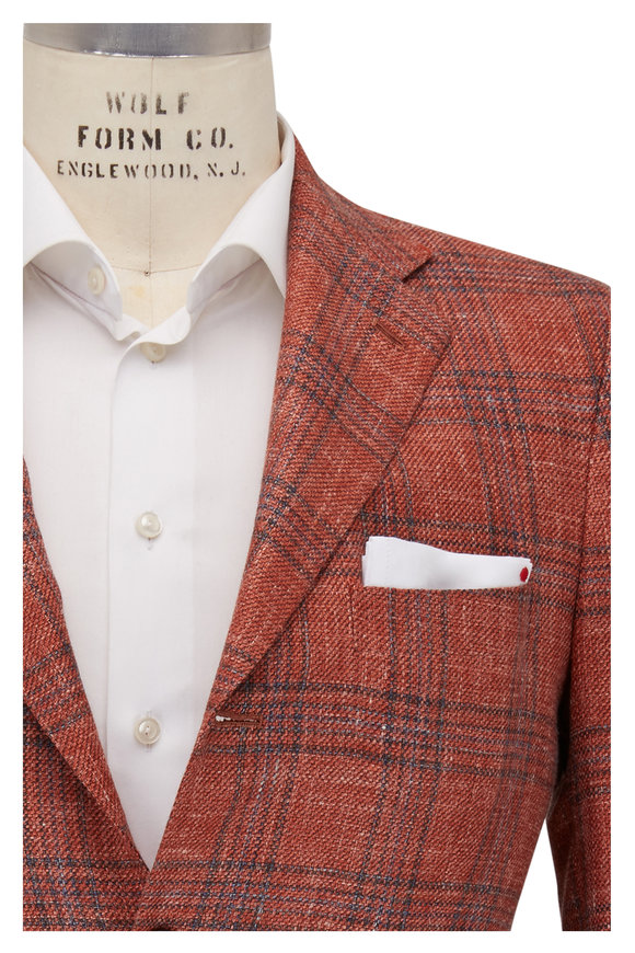 Kiton Orange Plaid Cashmere Blend Sportcoat
