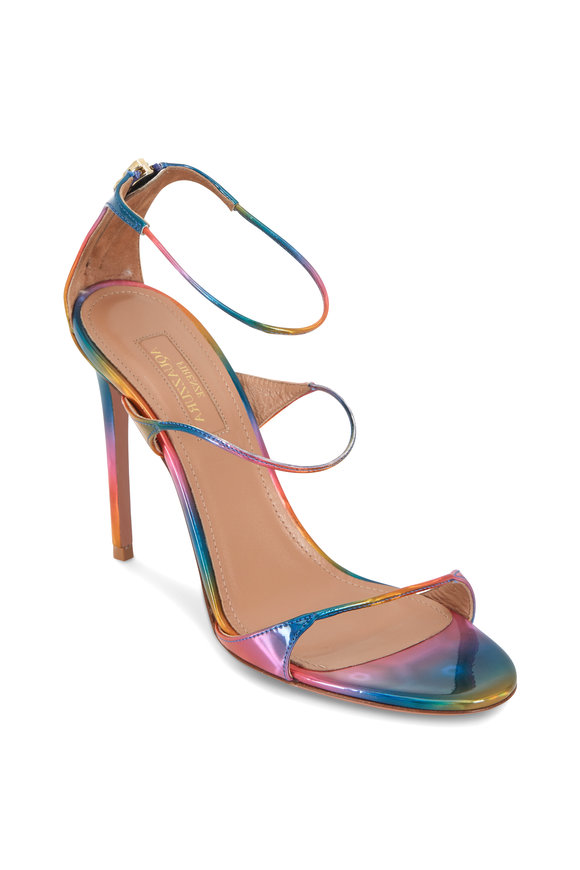 Aquazzura Minute Rainbow Leather Sandals, 105mm