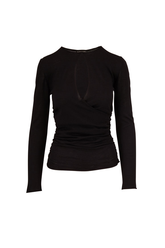 Tom Ford Black Cashmere & Silk Knit Keyhole Sweater