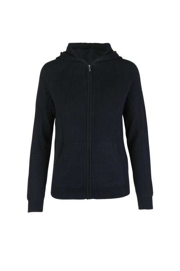 Chinti & Parker Black Cashmere Front Zip Hoodie