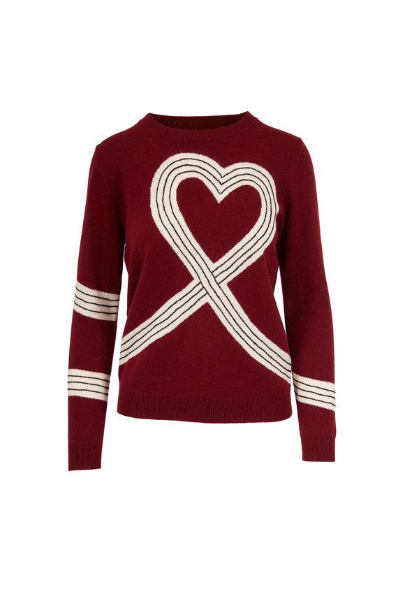 Chinti & Parker Berry, Cream & Black Heart Print Sweater