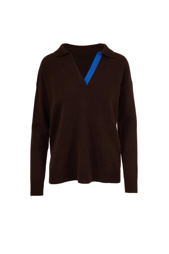 Chinti & Parker Bitter Chocolate & Royal Blue V-Neck Sweater