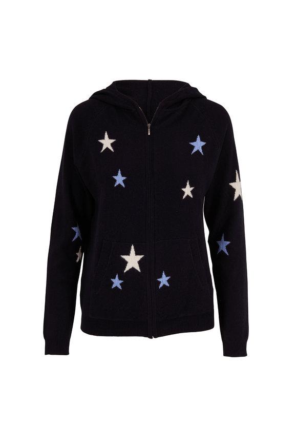 Chinti & Parker Navy, Cream & Sky Blue Star Front Zip Hoodie