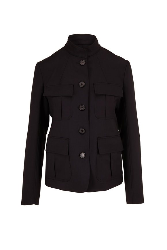 Nili Lotan Cambre Black Stretch Wool High Collar Jacket