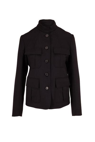 Nili Lotan - Cambre Black Stretch Wool High Collar Jacket