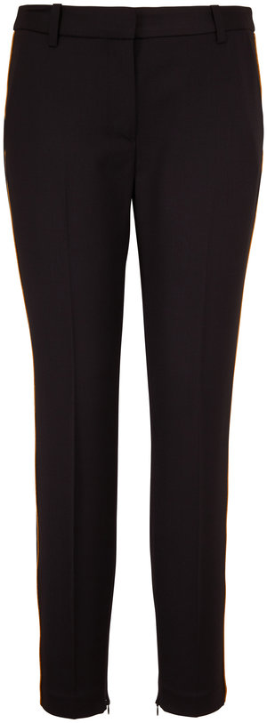 Nili Lotan Leo Black Stretch Wool Pant