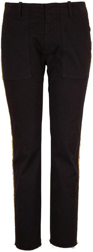 Nili Lotan Jenna Jet Black Gold Striped Cropped Pant